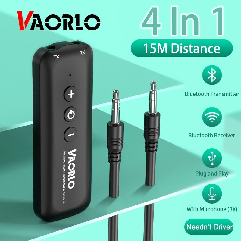VAORLO Bluetooth 5,0 адаптер с микрофоном 2 в 1 передатчик и приемник для наушников динамик стерео беспроводной аудио адаптер