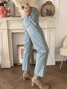Image 5 - Jeans delle donne Asimmetrico Cut Vintage Etero Nove punti dei jeans donna Jeans Pantaloni