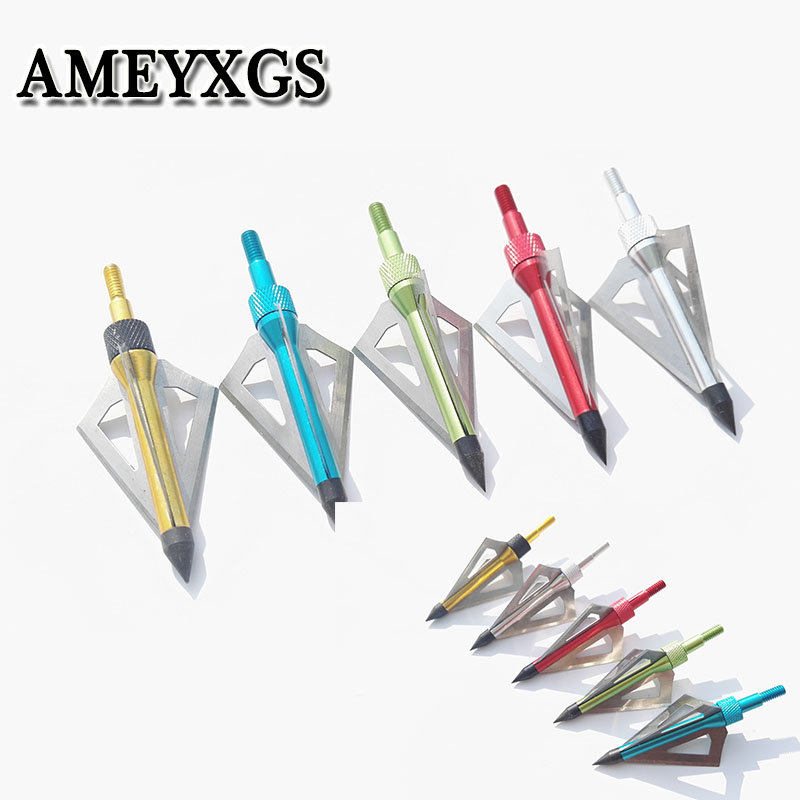 6/12pcs Arrowhead 100 grain 3 Fixed Blade Broadheads Archery Tips  Outdoor Hunting Shooting Accessorve