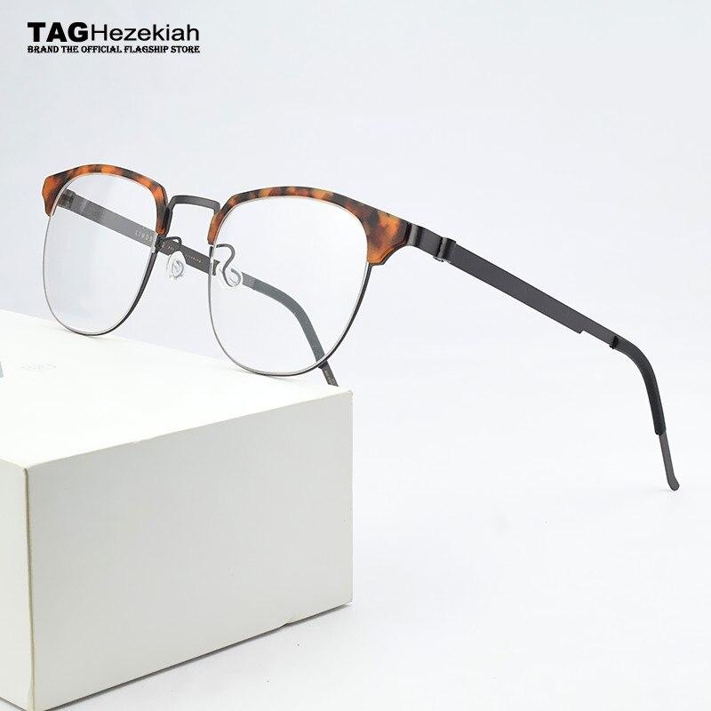 Brand round Myopia optical glasses frame Men eyeglasses women spectacle frames 2020 Acetate Alloy Square frame glasses 9843 9704