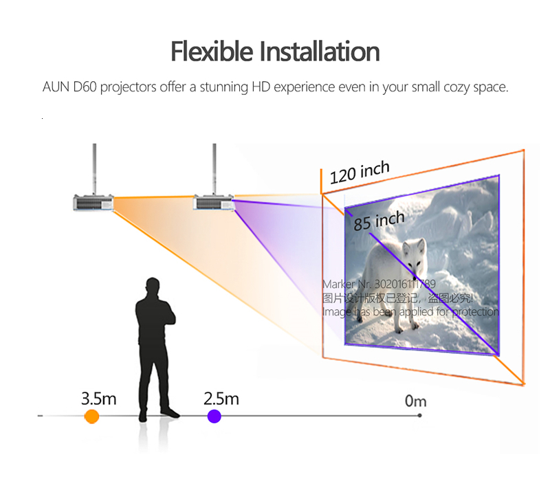AUN HD Projector D60   1280x720 Resolution MINI LED Video 3D Projector for Full HD Home Cinema.HDMI (Optional Android WIFI D60S)