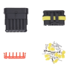 Kit 6 Pin Way Waterproof Electrical Wire Connector Plug