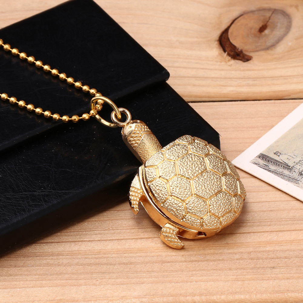 Pocket Watch New Turtle Shape Unisex Antique Case Vintage Brass Rib Chain Quartz Pocket Watch Reloj De Bolsillo карманные часы