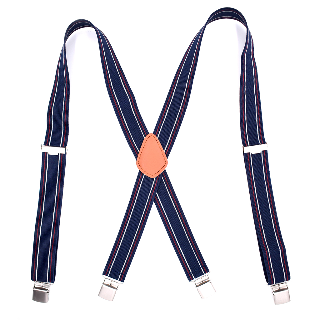 Vintage Mens Suspenders Heavy Duty X Back With 4 Strong Clips Large Size Adjustable Elastic Trousers Braces Straps For Men Adult