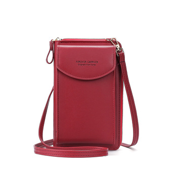 2020 Fashion Cell Phone Case Designer Small Shoulder Bag for Women PU Leather Ladies Crossbody Bag Female Mini Messenger Bags - Red