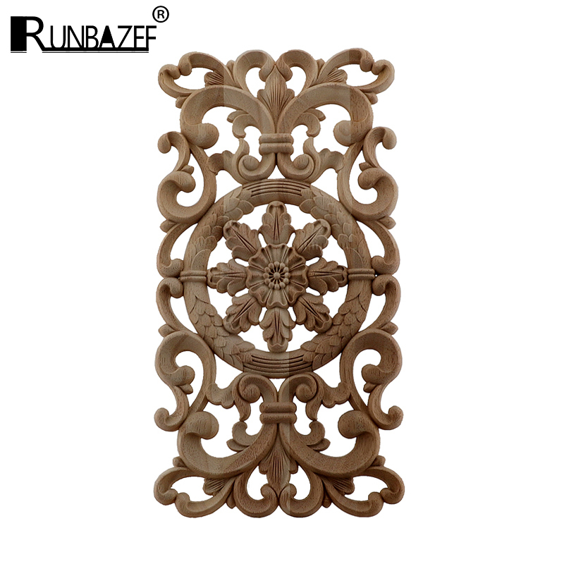 Woodcarving Decals Carved Corner Flower European Home Decoration Solid Cabinet Door Bed Decorative Patch Onlay Wood Applique