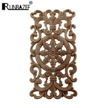 Calcomanías talladas en madera Flor de esquina decoración del hogar europeo puerta sólida cama parches decorativos Onlay apliques de madera