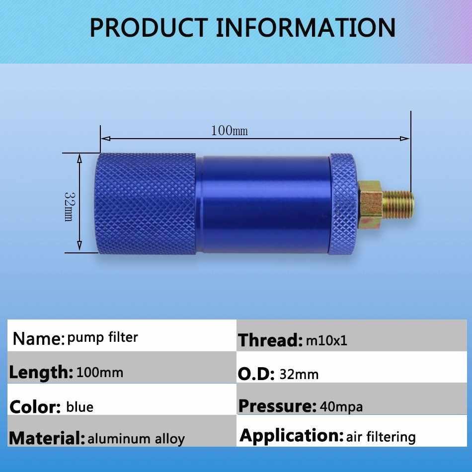 Filtro de aire de bomba de alta presión 300BAR 4500PSI separador de agua y aceite de aleación de aluminio para bomba de Paintball PCP M10x1 rosca 50cm manguera
