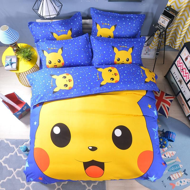 Home Textile 3D Cute Cartoon Pokemon Pikachu Printing Bedding Sets Kids Duvet Cover Set Bed Sheet Bed Linen Pillowcase 4pcs Set