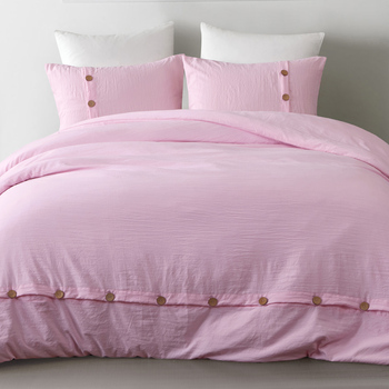 Yimeis bedding sets washed cotton pink bedding Solid color bed linen bedding set cotton BE47001