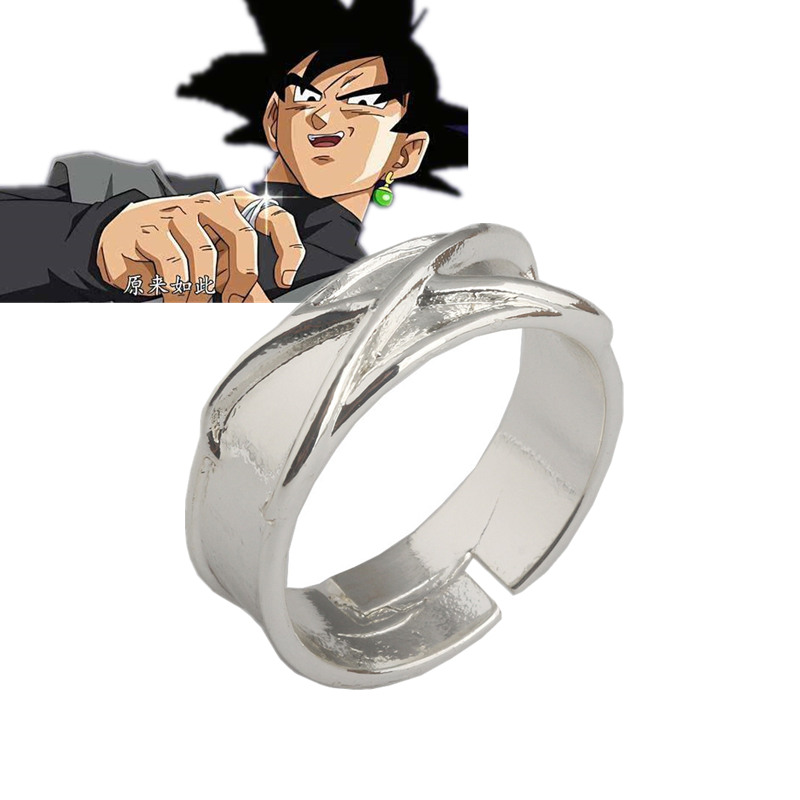 Super Dragon Ball Z Black Son Goku Gokou Time Finger Ring Prop Silver Plated Cosplay Accessories