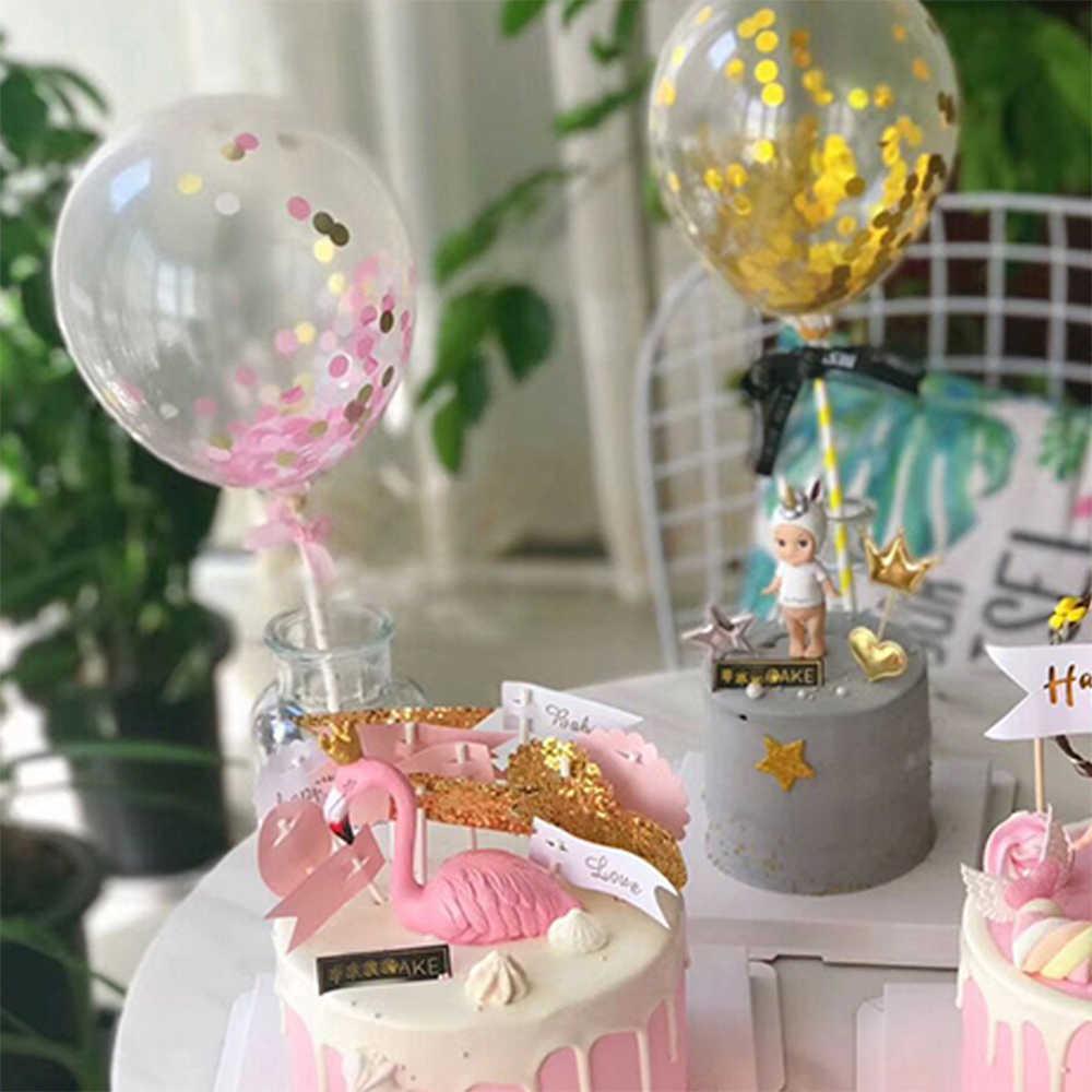 ใหม่ 5 นิ้ว Confetti Glitter บอลลูนเค้ก Toppers มินิเลื่อม Latex บอลลูนหัตถกรรมสำหรับเค้ก Topper ตกแต่งเค้กวันเกิดงานแต่งงาน