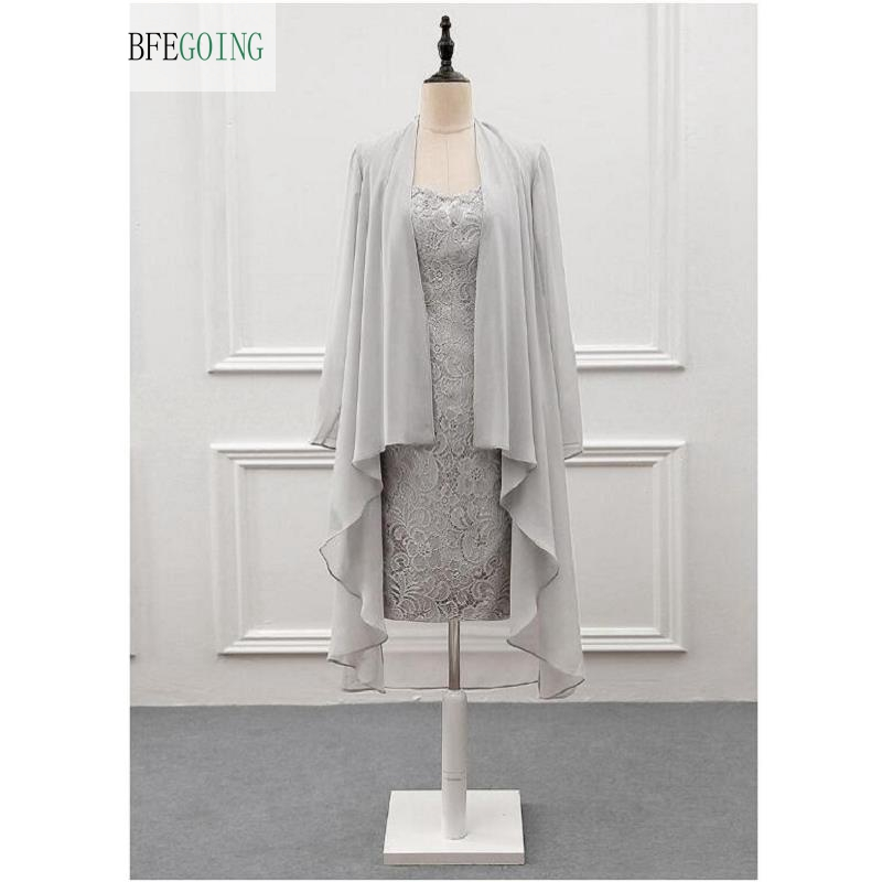 Gray Lace Chiffon Sleeveless Knee-Length Mother Of The Bride Dress With Bolero Custom Made