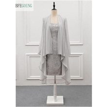 Gray Lace Chiffon Sleeveless Knee-Length Mother of the bride