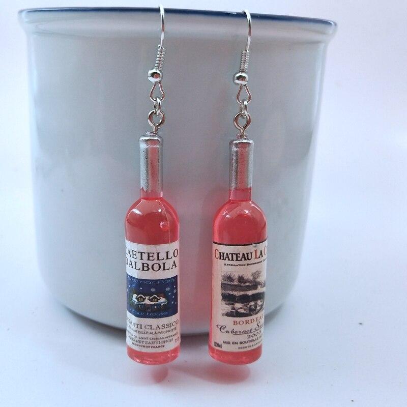 DIY моделирование винная бутылка серьги для женщин Cool красный, желтый, синий Вино Серьги капли ювелирные изделия оптом