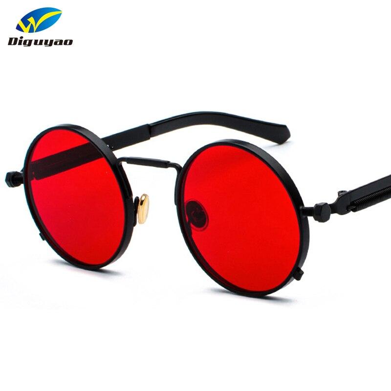 Oculos de sol feminino 2019 óculos Redondos Steampunk Das Mulheres Preto Vermelho Molas De Metal Polarizado Óculos De Sol dos homens uv400 alta qualidade