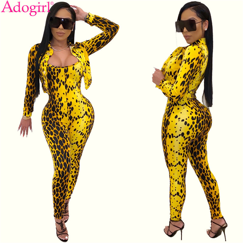 Adogirl Yellow Leopard Print Women Two Piece Set Long Sleeve Short Jacket Coat Top Spaghetti Straps Jumpsuit Fashion Sexy Suit