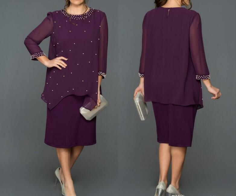 Purple Beaded Two Pieces Mother Of The Bride Dresses For Weddings 2019 Jewel Neck Plus Size Long Sleeves Tea Length Chiffon