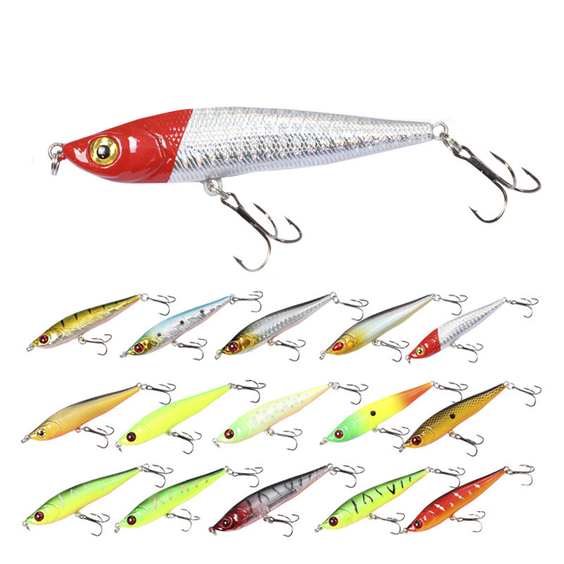 Fishing Lure Floating Sinking Pencil 80mm/15g Sandeel Shape With Strong Hooks Noisy Design