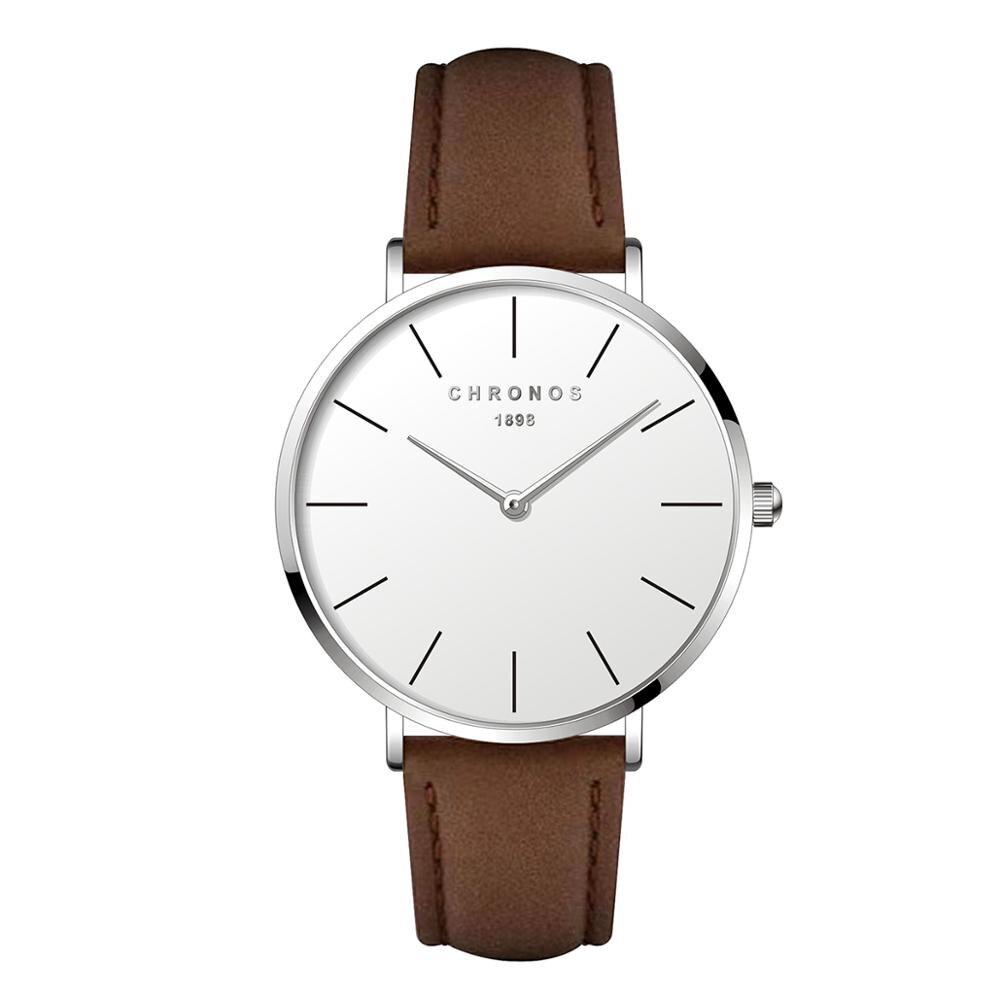 Chronos 1898 Men Women Simple Quartz Watch Case Unisex Couple Leather Watches Large Analog Face Brown Black Montre Femme