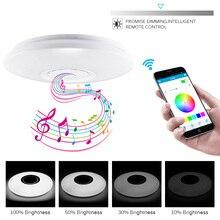 Умный музыкальный динамик светодиодный потолочный светильник 36-60 Вт RGB встроенный круглый Звездный музыкальный пульт Bluetooth полноцветный потолочный светильник