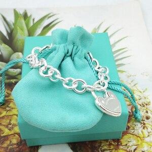 S925 srebro nowe europejskie i amerykańskie popularne w kształcie serca tag bransoletka damska biżuteria prezent świąteczny darmowa wysyłka