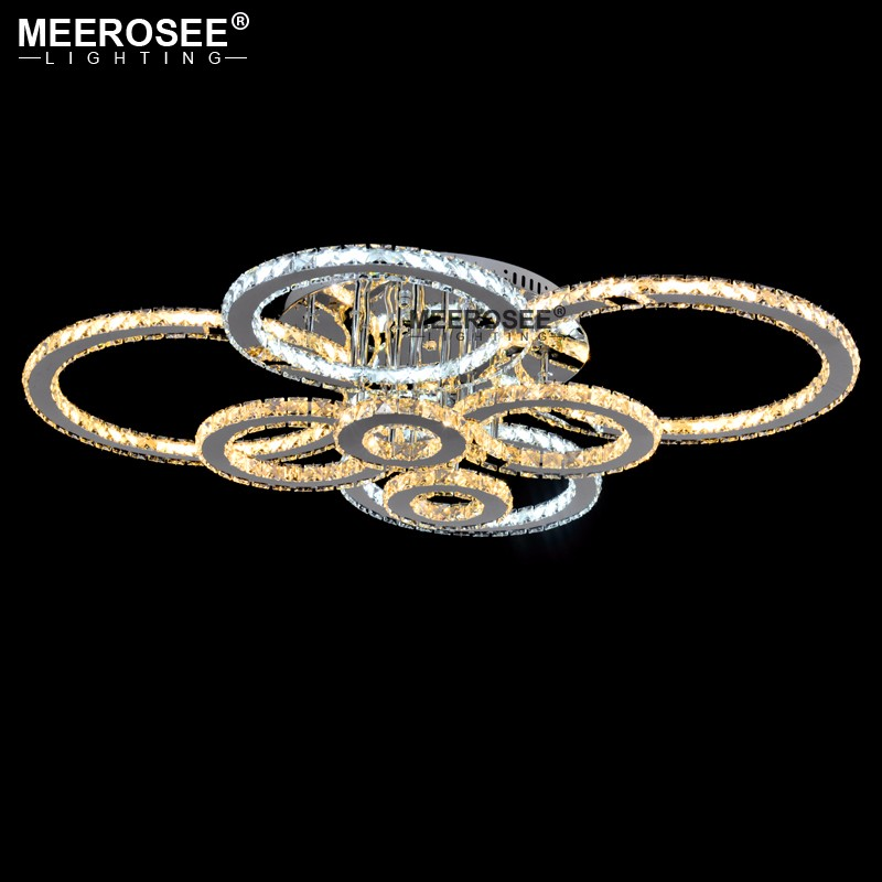 Hbe4bf972bf324490981025c4694f1cd4K Good Quality Clear Ring LED Ceiling Lamp Crystals Flush Mounted living room lights lampara led techo for Home Fast Shipping