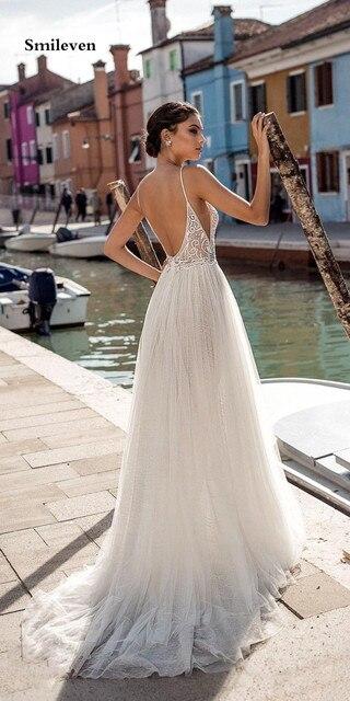 Smileven Beach Wedding Dress Boho vestido de noiva Bohemian Side Split Lace Bridal Dress Backless Spaghetti Straps Wedding Gowns 2