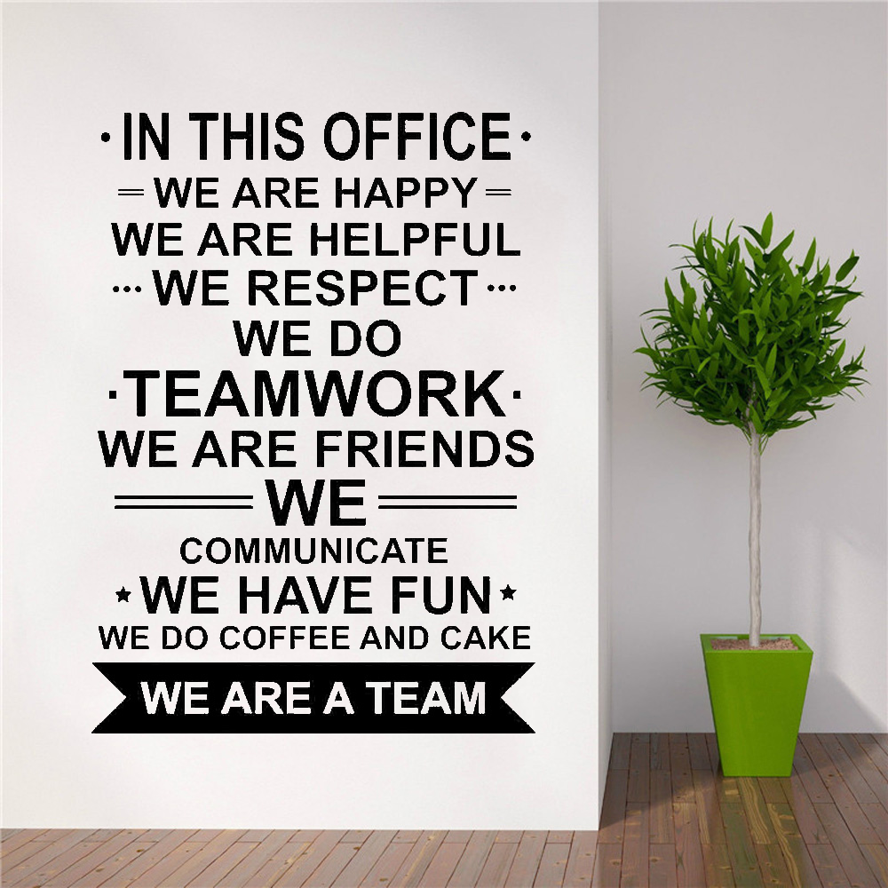 In This Office Wall Decal Poster We Are Team Quote Work Inspirational Teamwork Vinyl Sticker Motivational Office Decor image