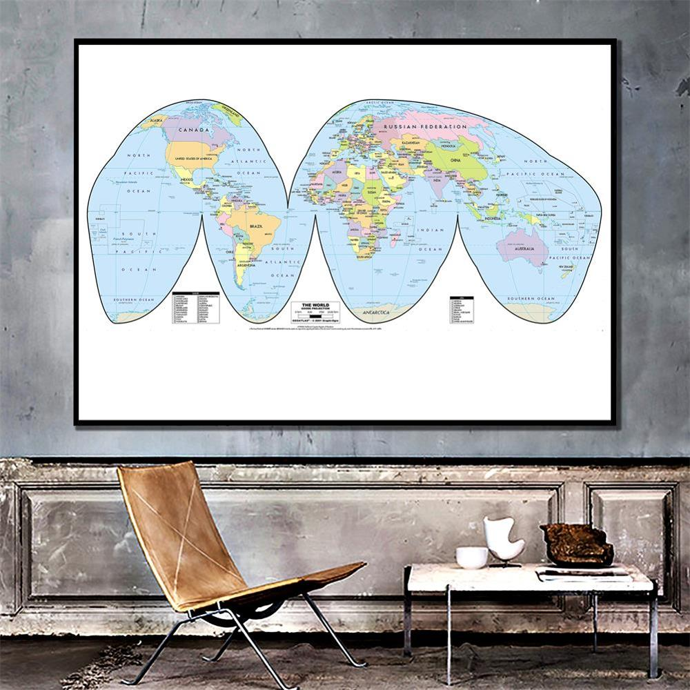 The World Map Goode Projection Country Map With Capital 150x100cm Vinyl Spray Map