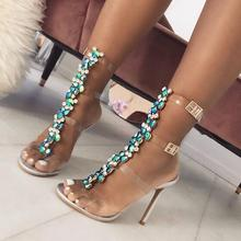 Clear PVC Transparent Rhinestone Knee High Sandals Boots Buckle Strap Open Toe High Heels Women Summer Boots Gladiator Sandals недорого