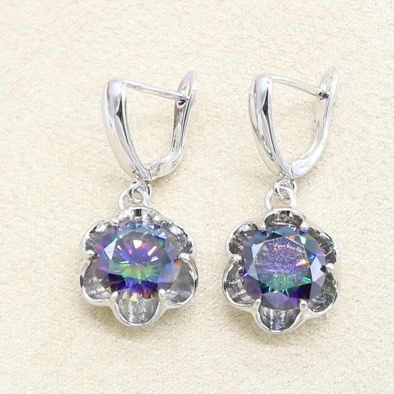 Circonita con color de arco iris conjunto de joyería de plata 925 para mujer pulsera pendientes collar anillo colgante regalo de cumpleaños