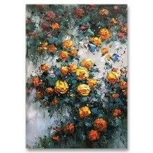 Moderno 3d paleta faca flores arte pura artesanal decoração da parede lona pintura a óleo moderna arte da parede para sala de estar decoração peças