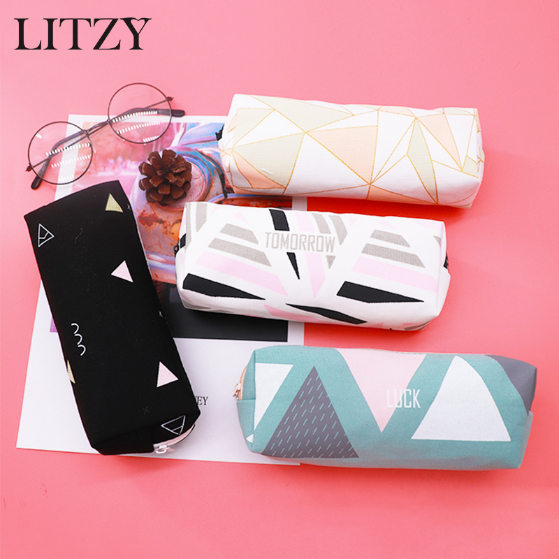 School Pencil Case Kawaii Canvas Starry Sky Pencil Cases For Girl Stationery Geometry Pencil Bag Black Pen Box Student Supplies