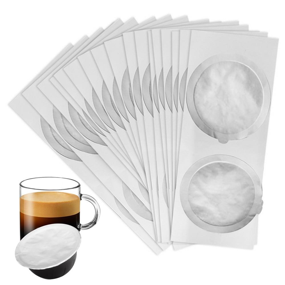 Behogar 100pcs Aluminum Foil Lids Disposable Coffee Pod Capsules Seal Lids Espresso Foils Compatible With Nespresso Vertuo