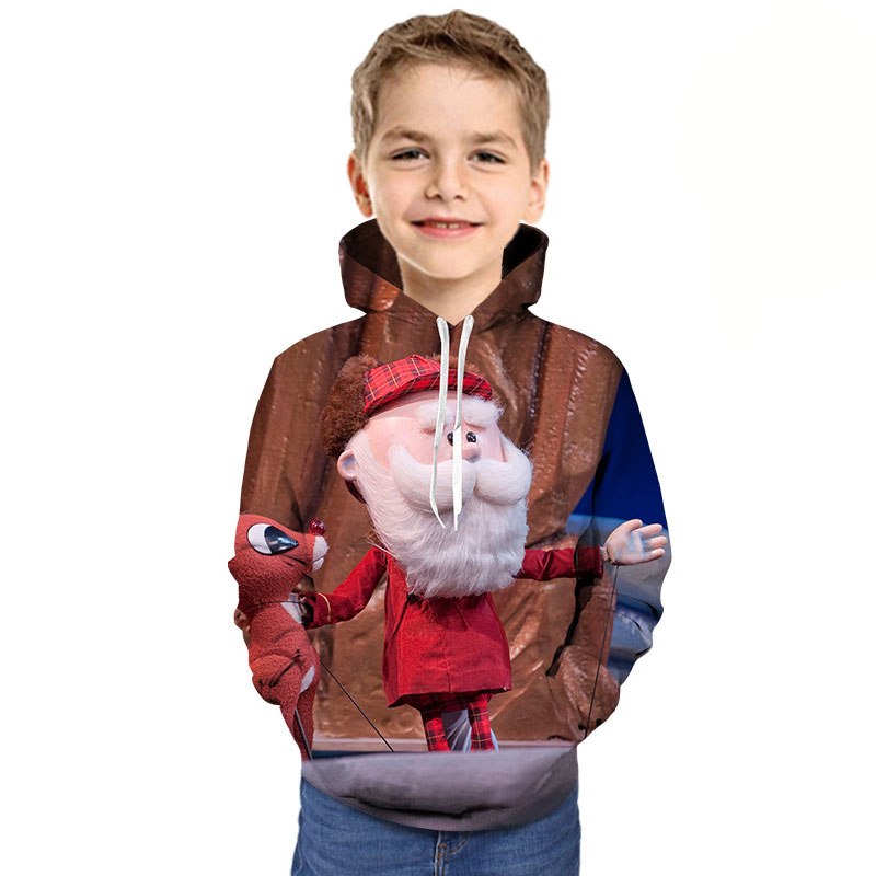 Kids Hoodie Christmas Clothing Tshirt Reindeer Printed Girl Cartoon Children 3D Santa-Claus