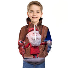 2019 children Christmas hooded Tshirt cartoon Santa Claus reindeer 3D printed hooded sweatshirt boy girl clothing Kids hoodie цена