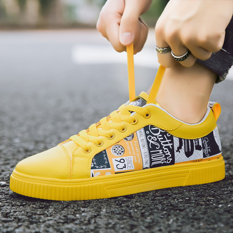 2019 Men's Casual Shoes Yellow Lac-up Non-Slip Leather Breathable  Adult Sneakers Male Tenis  Men Flat Shoe Smasculino Chaussure