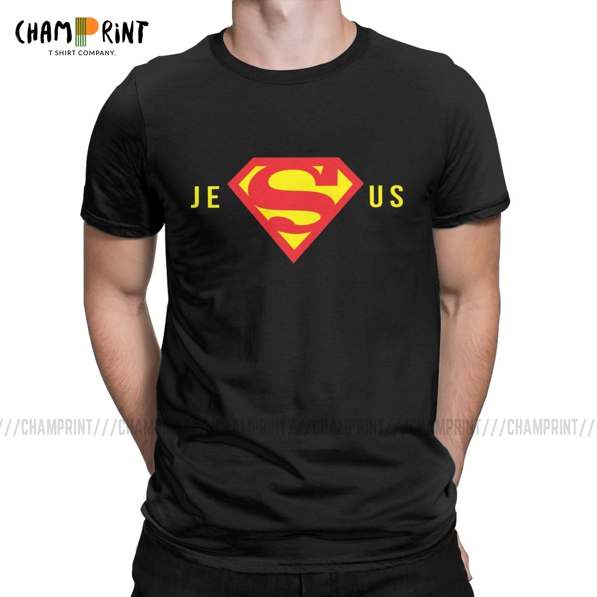 Funny Super Jesus T-<font><b>Shirt</b></font> for Men Round Collar 100% Cotton T <font><b>Shirts</b></font> Christian <font><b>God</b></font> Short Sleeve Tees 4XL 5XL Clothes image