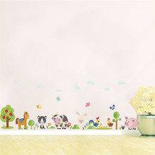 Forest Animals Tree Wall Sticker Horse Pig Rabbit Cow Cat Butterfly Decal Art Home Decor Children Bedroom Mural Poster