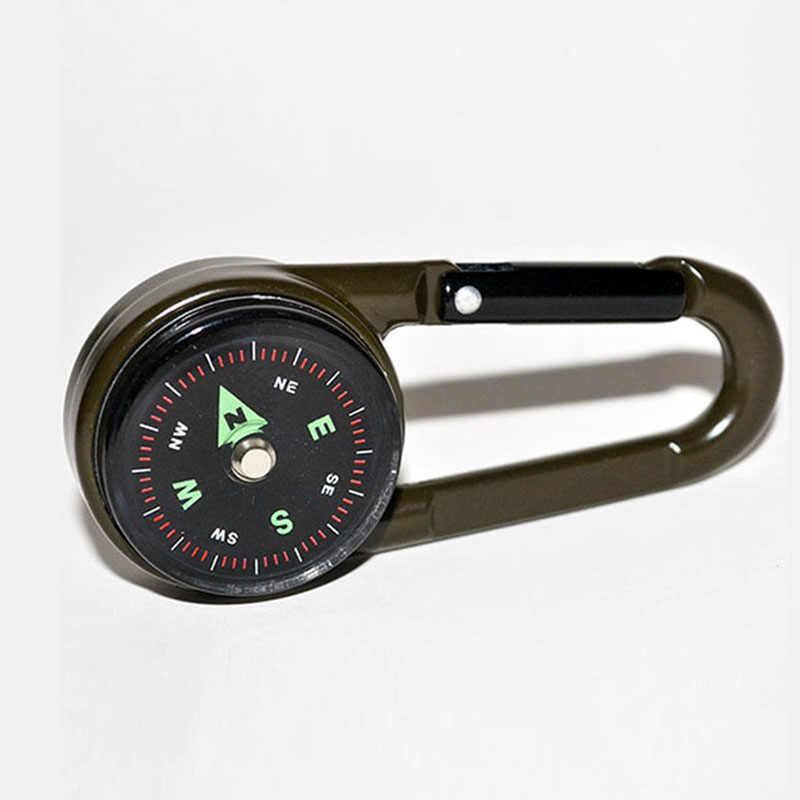 Multifungsi Mini Kompas Thermometer Gantungan Kunci Carabiner Klip Snap Hook Outdoor Alat Berkemah Hiking Barang Pariwisata Peralatan