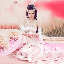 Ruo Xiang Li Pink Aesthetic Sweet Fairy Costume Peach Blossom Cosplay Costume Hanfu for Photography or Stage Performance(China)