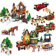 Nueva Navidad Legoinglys invierno pueblo escena vacaciones ciudad tren renos chica amigos construcción bloques figuras juguetes 10267