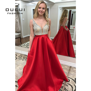 Image 2 - Deep V neck Beaded Formal Pageant Evening Dresses 2019 Long Red Satin Prom Dresses with Pocket Backless Sweep Train OL103517