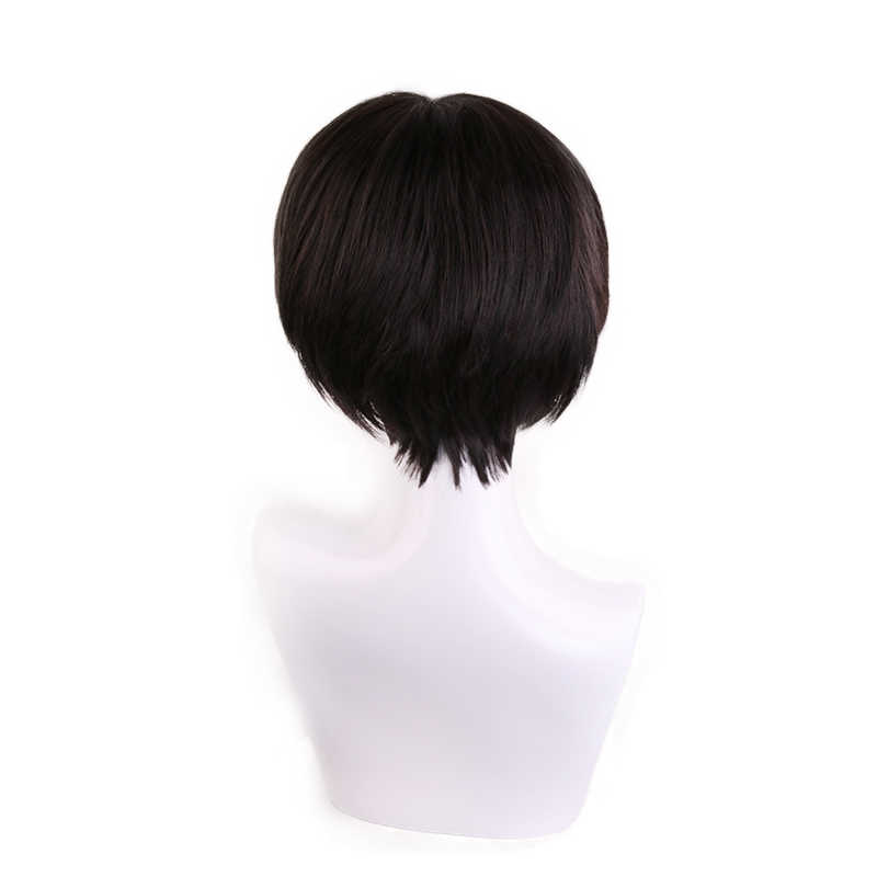 Attack on Titan Levi Ackerman Rivaille Black Brown Short Wig Cosplay Costume Heat Resistant Synthetic Hair Party Role Play Wigs