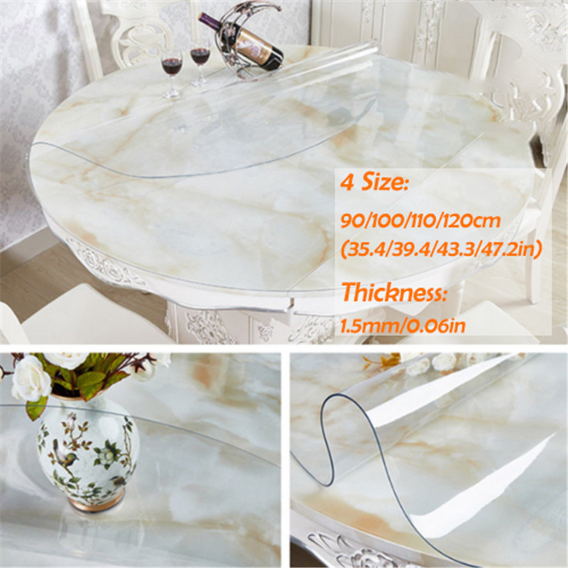PVC Waterproof Tablecloth Round Tablecloth Table Cover Transparent Kitchen Pattern Oil Tablecloth Glass Soft Cloth 1.5mm Mat