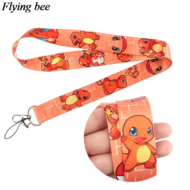 Flyingbee Charmander Keychain Cartoon Cute Phone Lanyard Women Fashion Strap Neck Lanyards For ID Card Phone Keys X0653