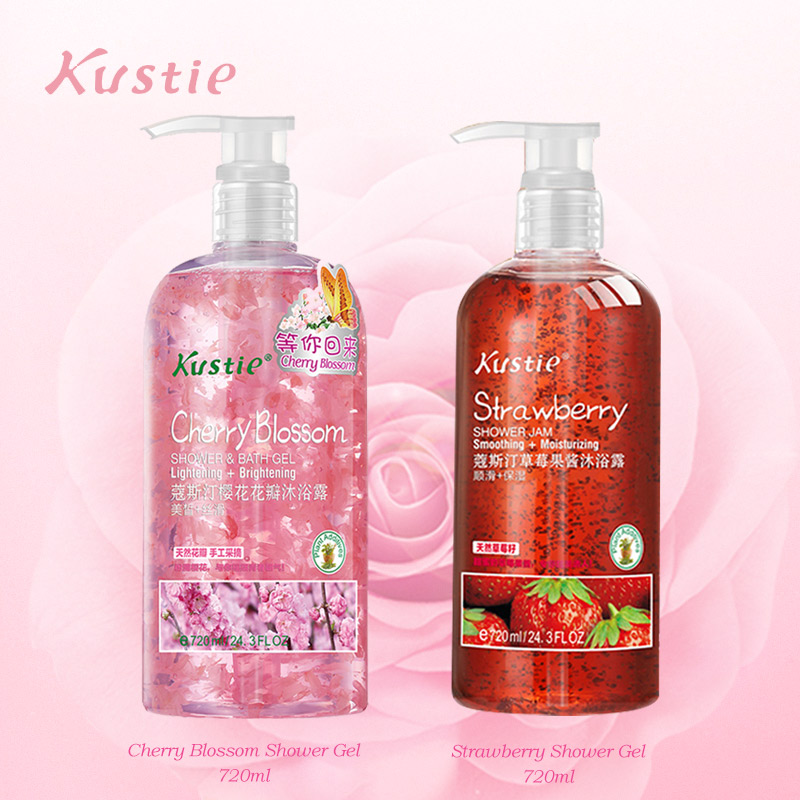 Kustie Strawberry Cherry Set Shower 720 Ml+720 Ml Natural Flower Essence Body Fragrance Autumn Hydrating Moisturizing Shower Gel