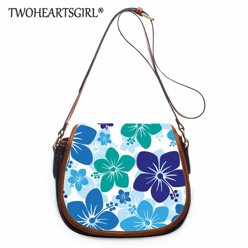 Twoheartsgirl Floral Style Leather Hasp Handbags Polynesian Ladies Shoulder BagsCasual Small Tote Bag for Party Messenger Bag