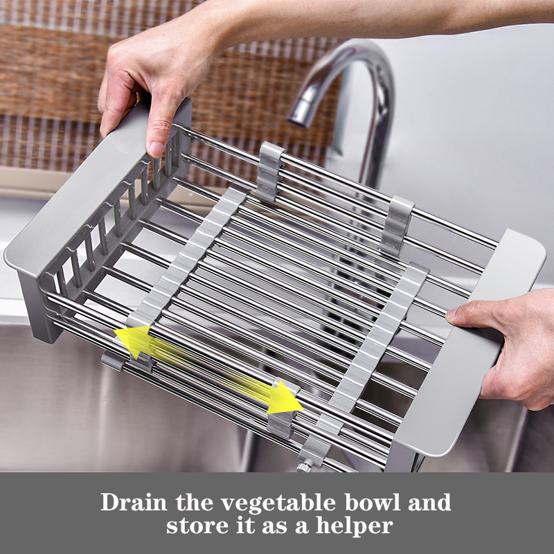Adjustable telescopic stainless steel kitchen with sink vegetable rack drying rack plug-in storage rack fruit and vegetable tray